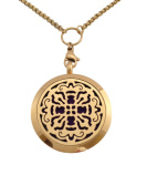 """Essential Oils Diffuser Jewellery Aromatherapy Necklace Gold Plated 316 Stainless Steel Old World Cross Pendant Locket 24"""" 2.5mm Chain and 7 Washable Refill Pads"""