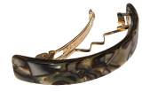 French Amie Curved Small Onyx Silver Grey 6.4cm Celluloid Handmade Automatic Hair Clip Hair Barrette with Golden Clasp