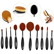 MixBeauty Professional 10 Pcs Oval Face Toothbrush Makeup Brushes Sets Countour Cream Powder Concealer Blush Cosmetic Foundation Brush