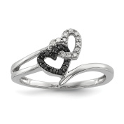 Solid .925 Sterling Silver Black & White Diamond Heart Ring Size 6