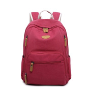 Yiliay Vintage Leisure Rucksack Large Schoolbag Canvas Backpack-Red