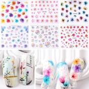 Warm Girl 20pcs Colour 3D Flower Design Nail Sticker Decal DIY Nail Art Decoration Kit