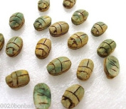 Egyptian Faience Scarab Hieroglyph Beads Pendant 9 XXS lux Hole HANDCARVED