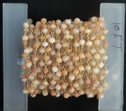3m AAA+ + Beautiful Quality Pink Opal Gold Plated Faceted Rondelle Gemstone Rosary Beads 3-4mm chain 120 inches LOVEKUSH