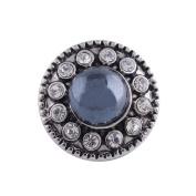 "Chunk Snap Charm Mini Petite 12mm Blue Pearl Crystal Border, 1/2"" Diameter"