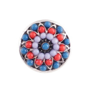 "Chunk Snap Charm Red White Blue Beaded 12mm 1/2"" Diameter"
