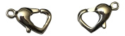 2 Polished Heart Lobster Clasps 316 Stainless Steel Heart Lobster Claw Clasps 8.5mm long