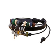 Topbeu Fashion Jewellery Unisex Bead Leather Charm Bracelet Wrist Band Hand Chain With Small Dragonfly Pendant(length