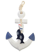 Wood Nautical Anchor Wall Hanging Hook Life Buoy Fish Hanger Home Decor