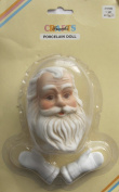 FRANK'S Crafts SET of 1 PORCELAIN SANTA Doll HEAD 7.6cm - 1cm and PAIR of White MITTEN HANDS Each HAND 2.5cm - 2.2cm Long