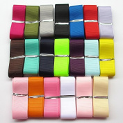 Chenkou Craft Assorted Of 20 Yards Grosgrain Ribbon Total 20 Colours Mix Lots Bulk (1""