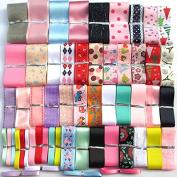 Chenkou Craft 55Yards Assorted Sizes Colours Styles Organza Ribbon Polyestor Ribbon Grosgrain Ribbon Ribbons Mix Lots Bulk