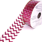 ACI PARTY AND SPIRIT ACCESSORIES Clear Ribbon with Hot Pink Chevron Print Pattern, 27 Yd. Roll