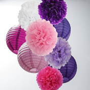 16 PCS 20cm 25cm Lavender Purple Pink White Tissue Paper Pom Pom Flowers and Paper Lanterns Party Decoration