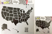 The Crafter's Workshop Set of 2 Stencils – US Map 12x 12 Large and 15cm x 15cm Mini - Includes 1 each TCW410 and TCW410s - Bundle 2 Items
