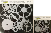 The Crafter's Workshop Set of 2 Stencils – Gears 12x 12 Large and 15cm x 15cm Mini - Includes 1 each TCW262 and TCW262s - Bundle 2 Items