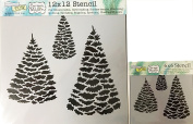 The Crafter's Workshop Set of 2 Stencils – Evergreens 12x 12 Large and 15cm x 15cm Mini - Includes 1 each TCW518 and TCW518s - Bundle 2 Items