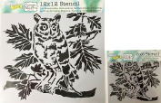 The Crafter's Workshop Set of 2 Stencils – Curious Owl 12x 12 Large and 15cm x 15cm Mini - Includes 1 each TCW609 and TCW609s - Bundle 2 Items