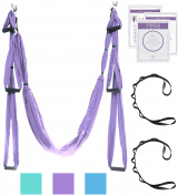 Aerial Yoga Swing - Ultra Strong Antigravity Yoga Hammock/Trapeze/Sling for Antigravity Yoga Inversion Exercises - 2 Extensions Straps Included