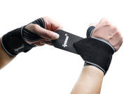 Ipow 47cm Professional Quality Wrist Straps Support Braces Wraps Belt Protector With 6.4cm Thumb Loops for Powerlifting, Bodybuilding, Weight Lifting, Strength Training, One Size fits all Men & Women