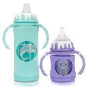 GoGlass Borosilicate Glass Baby Bottle Set With Sippy Cup Spout - 120ml (purple) and 300ml (blue) - BPA Free - Best Feeding For Preemie, Newborns, Infants, and Toddlers, Amazon Registry
