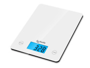 Kabalo White Kitchen Household Food Cooking Weighing Scale 5kg capacity 5000g/1g, Batteries Included! Flat Slim Design, Premier LCD Digital Electronic, with blue backlight