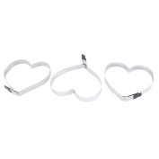 sourcingmap® Stainless Steel Heart Design Household Frying Egg Mould Ring 3 Pcs