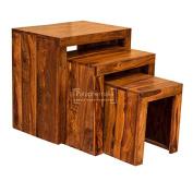 Gaya cube solid sheesham nest of tables