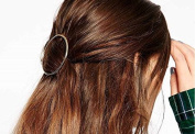 Leiothrix Elegant Golden Circular Alloy Hair Clip for Women and Girls on any Occasion
