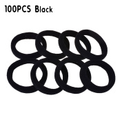 PREFER BEAUTY Seamless 100 PCS High Elastic Cotton stretch Hair Ties Bands Rope Ponytail Holders Headband Scrunchie Hair Accessories No Slipping Snagging Breaking or Stretching Out Black