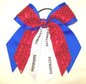 Custom Mascot Two Layer Bow with Soft Touch Sequin & Mascot, Made in the USA, Pick your Mascot & Colours, Black Pony Band …
