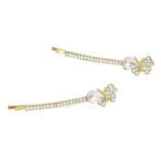 Rosemarie Collections Women's Sparkle Crystal Butterfly Hair Clip Pins