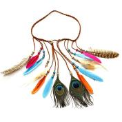 Handmade Feather Boho Chic Colourful Feather Peacock Tassels Headband, Peacock Feather Head Chain, Adjustable Length