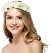 Hydrangea Flower Headband Crown - With Adjustable Ribbon for Wedding Festivals
