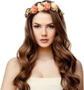 Rose Flower Headband Crown Garland Halo for Wedding Festivals