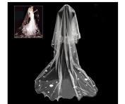 Soft Tulle Wedding Bridal Veil 1 Tier 2.8 Metres Long Cathedral Chapel Floor Veils with Elegant Embroidered Lace Trim for Women Bride