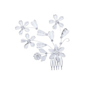 LY8 Silver-Tone Austrian Crystal Flower Wedding Bridal Hair Comb Pin Tiara Hair Jewellery