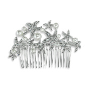 Bridal Dancing Starfish Pearl Crystal Wedding Comb