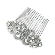 Bridal Medium Pearl Silver Crystal Scrolls Comb
