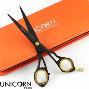NEW Professional Barber/Salon Razor Edge Hair Cutting Scissors -(5 ½ Inch /14CM ) Sharp Hairdressing Shears Stainless Steel + Fine & Attractive Leather Case By Unicorn Plus