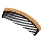 Exquisite Gift - Amammon No Static 100% Handmade Premium Quality Natural Fine Tooth No Handle Natural Green Sandal Wood Black Ox Horn Comb