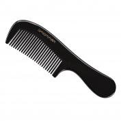 Exquisite Gift - Amammon No Static 100% Handmade Premium Quality Natural Fine Tooth Round Handle Black Ox Horn Comb