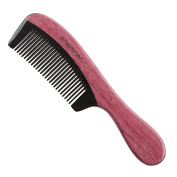 Exquisite Gift - Amammon No Static 100% Handmade Premium Quality Natural Round Handle Purple Heart Wood Black Ox Horn Comb