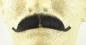 European Moustache BLACK - 100% Human Hair - no. 2012 - REALISTIC! Perfect for Theatre - Reusable!