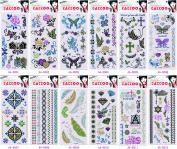 Wonbeauty 12pcs Glitter Fake and real temp tattoo stickers in a package,it including ,jewellery,roses,flowers,feathers,diamond,totembutterflies,etc.