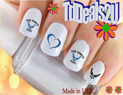 Military - Air Force Wife 1 Heart Wings - WaterSlide Nail Art Decals - Highest Quality! Made in USA