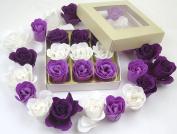 Valentine Rose bath bombs, Colourful Charming nine Rose Flower, lovely gift for birthday. beige gift box, 3 dark purple, 3 purple, 3 white, 17go