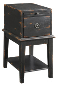 Treasure Trove Accents Chairside Chest, Weathered and Distress Black Rub Through Finish