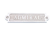 Chrome Admiral Sign 15cm - Beach Home Accent - Nautical Chrome Wall Sign