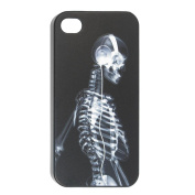 Can Erming Witte Schedel Patroon Back Cover Case for iPhone 4 4G Black